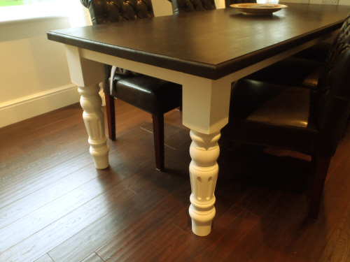 an oak table featuring our legs painted pine legs ...